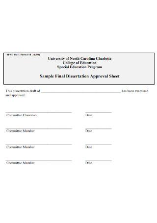 Sample Final Dissertation Approval Sheet