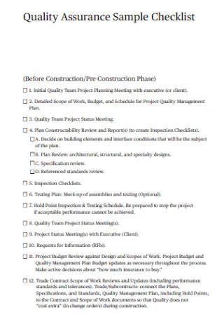 Sample Quality Assurance Checklist