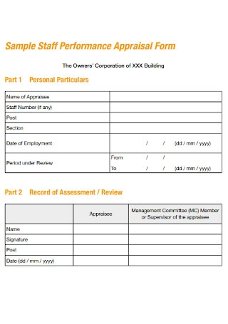 Sample Staff Performance Appraisal Form