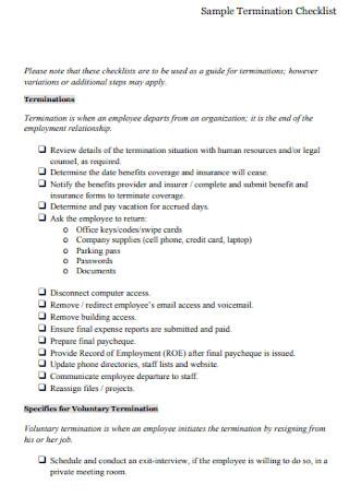 Sample Termination Checklist Example