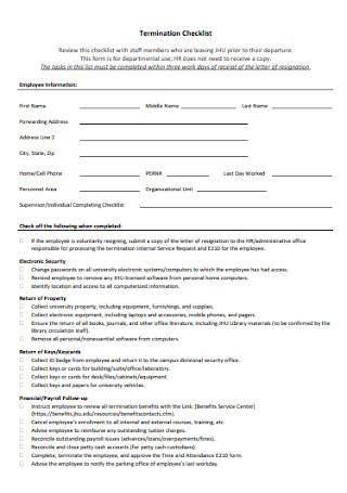 Sample Termination Checklist Template
