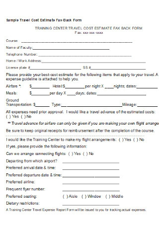 Sample Travel Cost Estimate Fax Back Form