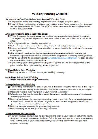 Sample Wedding Planning Checklist Template