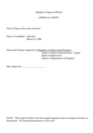 Sample of Approval Sheet Example
