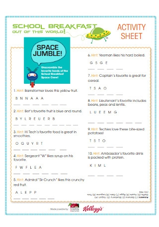 School Breakfast Activity Sheet