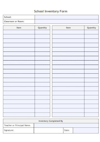 School Inventory Form