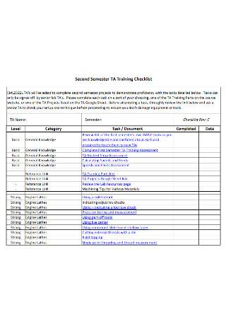 Second Semester Training Checklist
