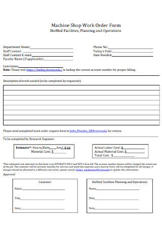 Shop Work Order Form