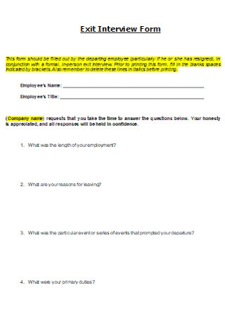 Simple Exit Interview Form Template
