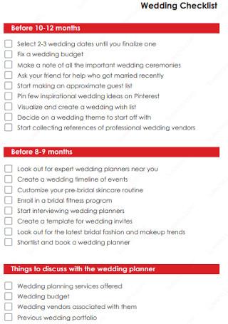 Simple Wedding Checklist Example