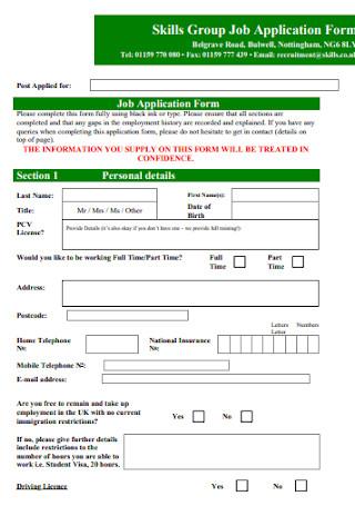 Skills Group Job Application Form