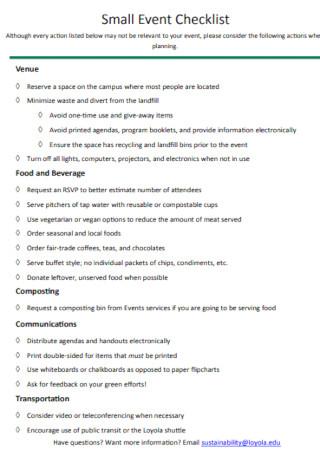Small Event Checklist