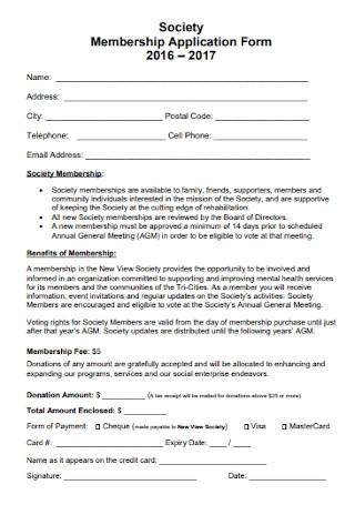 Society Membership Application Form