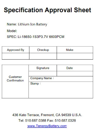 Specification Approval Sheet