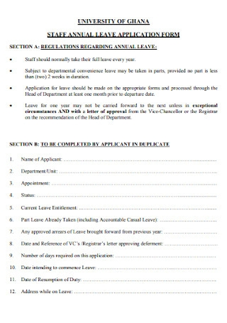 Staff Anual Leave Application Form