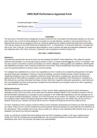 Staff Performance Appraisal Form