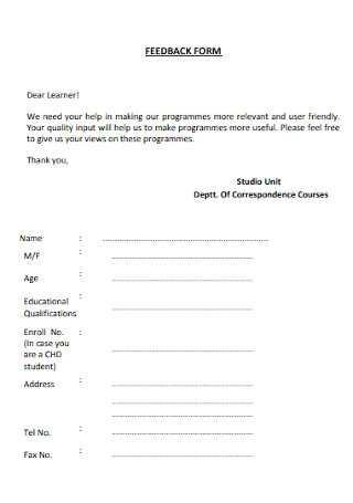 Standard Feedback Form Template