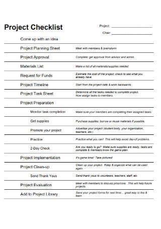 Standard Project Checklist Template
