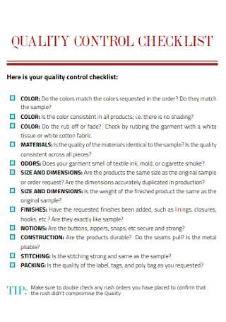Standard Quality Control Checklist