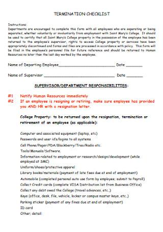 Standard Termination Checklist Template
