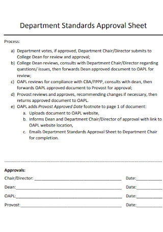 Standards Department Approval Sheet
