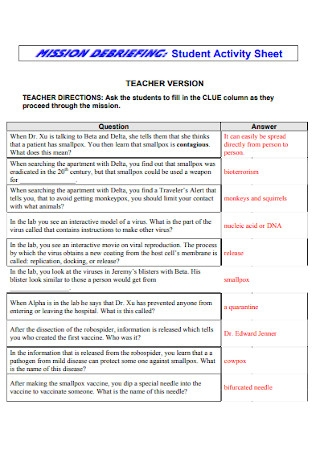 Student Activity Sheet Template