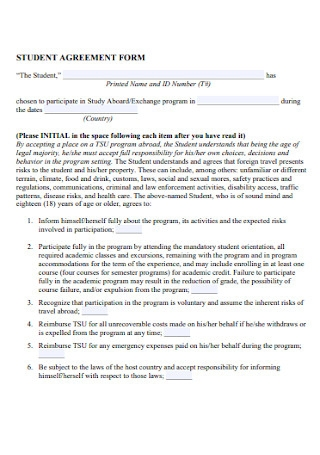 Student Agreement Form