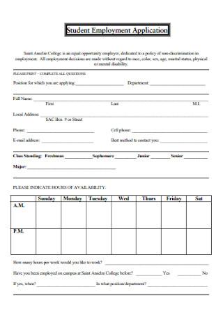 Student Employment Application Form