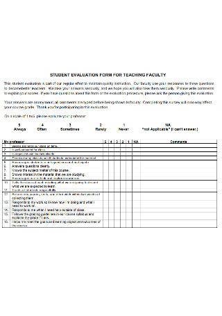 Student Evaluation Form