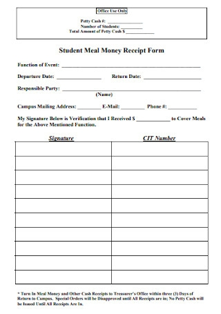Student Meal Money Receipt Form