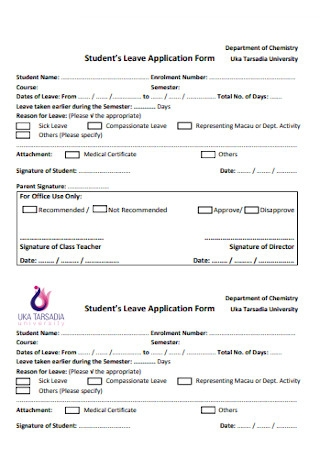 Students Leave Application Form Template
