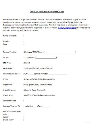 Subscriber Feedback Form