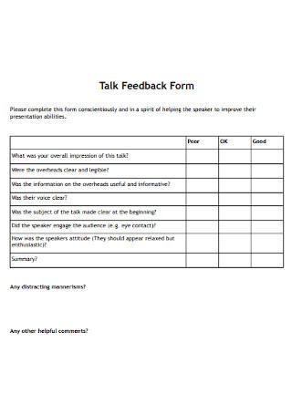 Talk Feedback Form