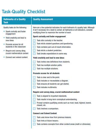 Task Quality Checklist