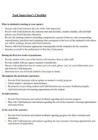 Task Supervisors Checklist