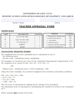 Teacher Apprisal Form