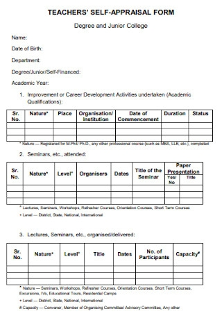 Teachers Self Appraisal Form