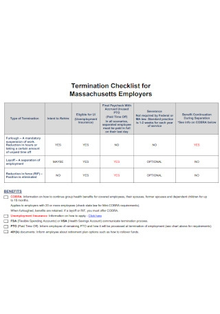 Termination Checklist for Massachusetts Employers