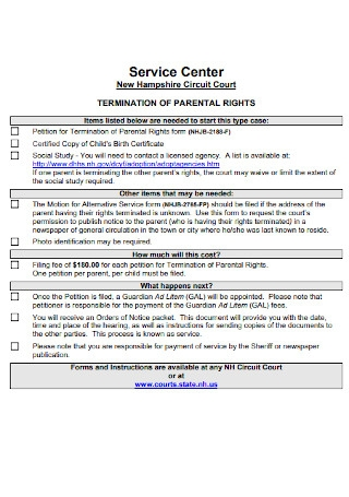 Termination Checklist for Parental Rights