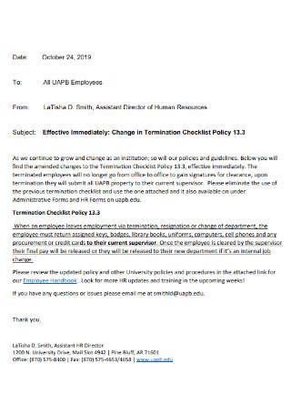 Termination Policy Checklist