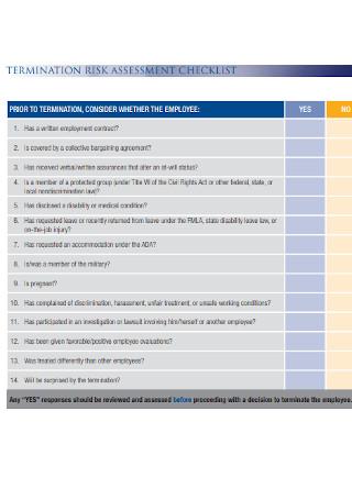 Termination Risk Assessment Checklist