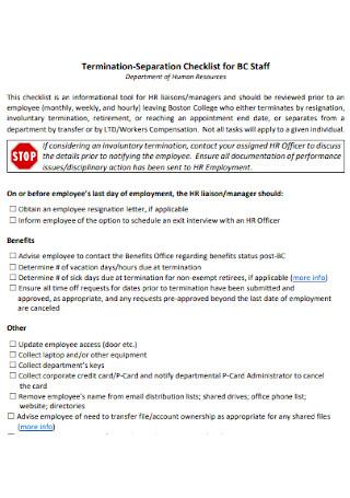 Termination Separation Checklist for Staff