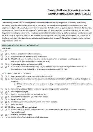 Termination Seperation Checklist