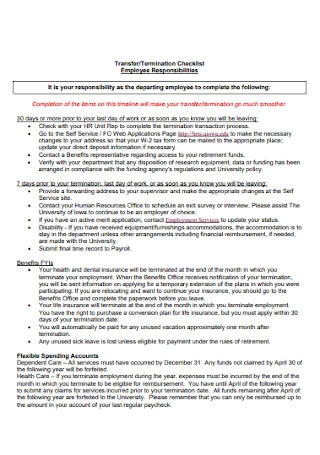 Termination and Transfer Checklists