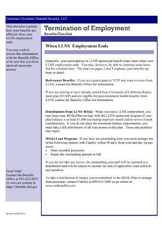 Termination of Employment Benefits Checklist