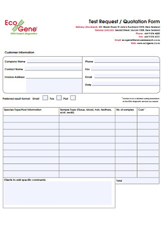Test Request and Quotation Form
