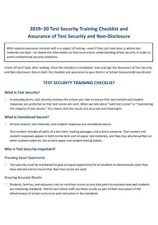 Test Security Training Checklist