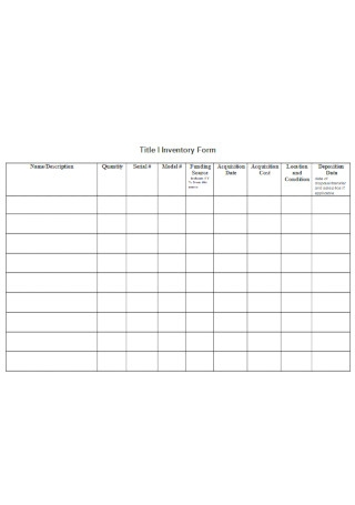 Title Inventory Form