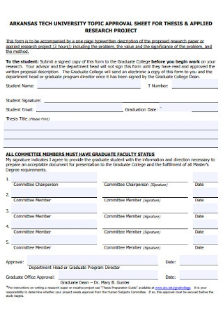 Topic Approval Sheet Template