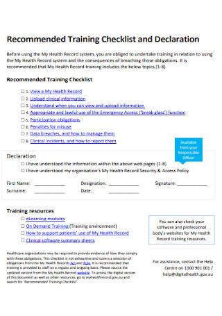 Training Checklist and Declaration Template